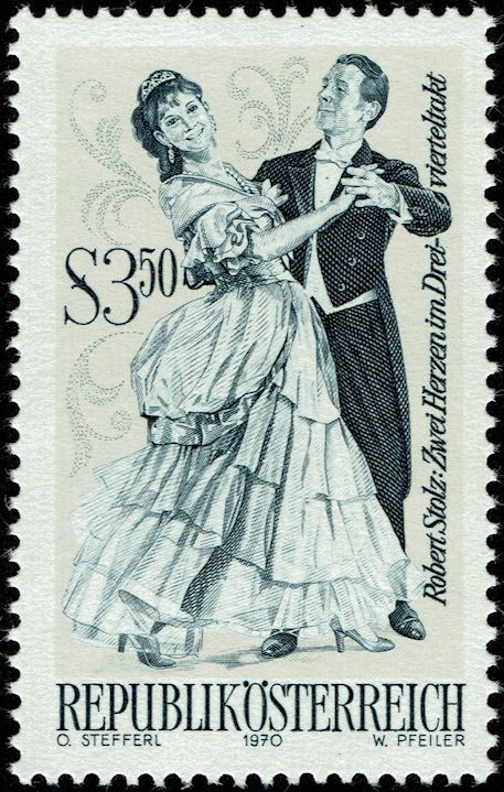 "Engraved by Werner Pfeiler (b. 1941) One of a set of stamps depicting operettas of various Austrian composers, this one depicting Robert Stolz's ""2 Hearts in 3/4 Time"""