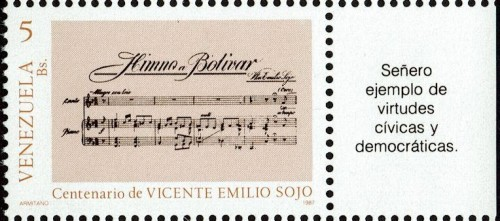 """Stamp showing music to Sojo's """"Hymn to Bolivar."""""""