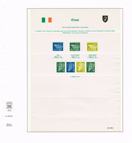 """1977, Eire, """"Gerl"""" definitives, third, decimal issue, stamps from multi-value coils, no watermark, Hibernian D71ci-D72ci, D75ci"""